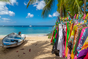 Boats afloat the Caribbean Sea viewed from the West Coast near Holetown, Barbados, West Indies, Cariの写真素材 [FYI03799429]