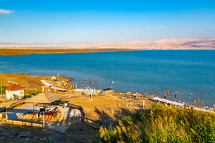 View of Dead Sea at Kalia Beach, Israel, Middle Eastの写真素材 [FYI03799494]