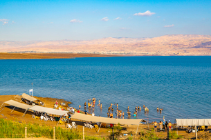 View of Dead Sea at Kalia Beach, Israel, Middle Eastの写真素材 [FYI03799495]
