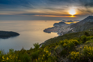 Panoramic view of the Old Walled City of Dubrovnik at sunset, UNESCO World Heritage Site, Dubrovnikの写真素材 [FYI03799604]