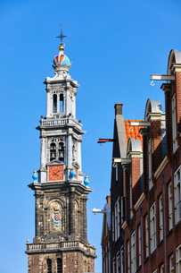 Westerkerk church and townhouse facades, Amsterdam, North Holland, The Netherlands, Europeの写真素材 [FYI03799853]