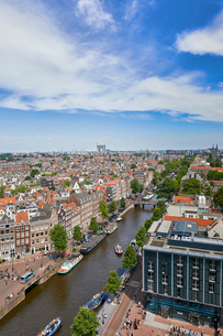 View of the Jordaan and Prinsengracht from the top of Westerkerk church, Amsterdam, North Holland, Tの写真素材 [FYI03799857]