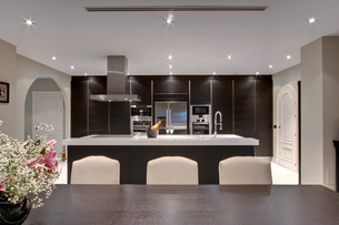 Champagne on ice in modern kitchenの写真素材 [FYI03800548]