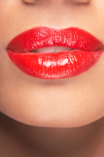 Lips with red lipstickの写真素材 [FYI03800807]
