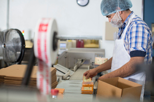 Man packaging vegan cheese in warehouseの写真素材 [FYI03802063]