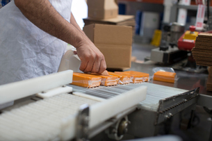 Man packaging vegan cheese in warehouseの写真素材 [FYI03802065]