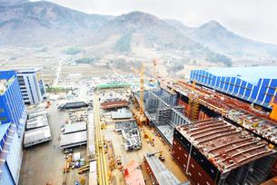 Shipping port, elevated view, GoSeong-gun, South Koreaの写真素材 [FYI03802889]