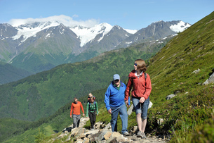 Group of people hiking, North Face Trail, Alyeska Prince Hotel, Alyeska Resort, seven glaciers, Winnの写真素材 [FYI03803718]