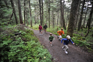 Family exploring woods, Winner Creek, Alyeska Resort, Turnagain Arm, Mt. Alyeska, Girdwood, Alaska,の写真素材 [FYI03803735]