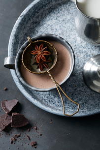 'Day of the Dead' drink of hot chocolate 'Mexican champurrado' star anise, vanilla and cinnamonの写真素材 [FYI03803819]