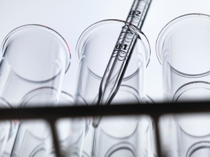 Low angle view of graduated pipette pipetting liquid into test tubeの写真素材 [FYI03804305]