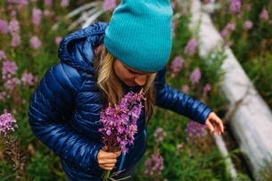 High angle view of mid adult woman wearing padded coat and knit hat holding wildflowers, Moraine lakの写真素材 [FYI03804406]