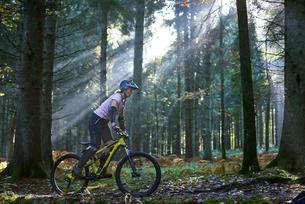 Female mountain biker cycling in sunbeam lit Forest of Dean, Bristol, UKの写真素材 [FYI03804835]