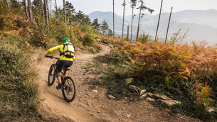 Mid adult woman cycling up dirt track, Finale Ligure, Savona, Italyの写真素材 [FYI03804960]