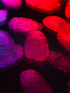 Identity, human finger prints shown up using lightの写真素材 [FYI03804977]