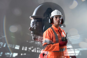 Composite image of construction worker showing full health and safety wearの写真素材 [FYI03805041]