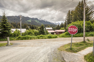 Stop sign on roadside, Seldovia, Kachemak Bay, Alaska, USAの写真素材 [FYI03805184]