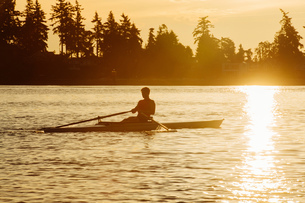 Silhouetted man rowing single scull on Puget Sound at sunset, Winslow, Bainbridge Island, Washingtonの写真素材 [FYI03805303]