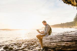 Man sitting using laptop on beach in Juan de Fuca Provincial Park, Vancouver Island, British Columbiの写真素材 [FYI03805514]