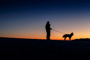 Silhouetted side view of man and dog standing on hill horizon at nightの写真素材 [FYI03805870]