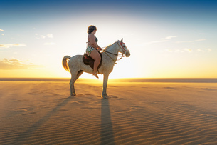 Woman riding horse on beach, side view, Jericoacoara, Ceara, Brazil, South Americaの写真素材 [FYI03806519]