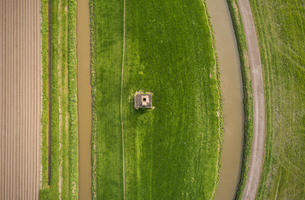 Ditch, dyke, ploughed field and pasture, overhead view, Maasdijk-Heenweg, Zuid-Holland, Netherlandsの写真素材 [FYI03807614]
