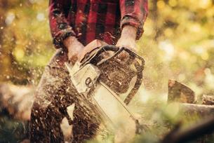Male lumberjack cutting log in forestの写真素材 [FYI03808846]
