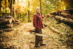 Side view portrait of confident lumberjack holding chainsaw in forestの写真素材 [FYI03808856]