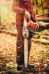 Low section of lumberjack holding chainsaw in forestの写真素材 [FYI03808867]