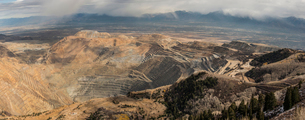 High angle view of Bingham Canyon mineの写真素材 [FYI03809914]