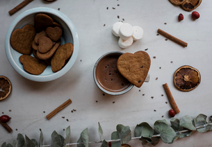 hot chocolate and cinnamon biscuits Christmas foodの写真素材 [FYI03810899]