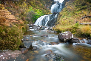Flowerdale Falls, a waterfall near the village of Gairloch, Torridon, Scotlandの写真素材 [FYI03810992]