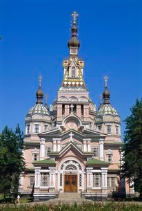 Zenkov Cathedral, 1904, made of wood with no nails, Alamty, Kazakhstanの写真素材 [FYI03811009]