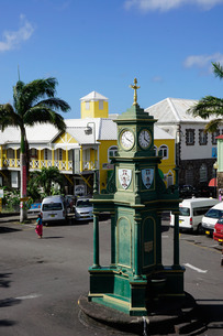Clock Tower in the centre of capital, Piccadilly Circus, Basseterre, St. Kitts, St. Kitts and Nevis,の写真素材 [FYI03811086]