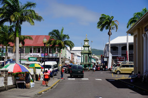Clock Tower in the centre of capital, Piccadilly Circus, Basseterre, St. Kitts, St. Kitts and Nevis,の写真素材 [FYI03811092]