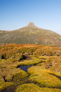 View from Mount Ossa, 1617m, Tasmania's highest mountain on the Overland Track, Cradle Mountain Lakeの写真素材 [FYI03811210]