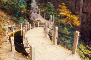 Footpath, White Cloud scenic area, Huang Shan (Yellow Mountain), Anhui Provinceの写真素材 [FYI03811646]