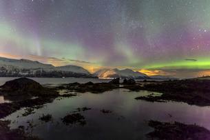 Northern Lights on the icy landscape of Svensby, Lyngen Alps, Troms, Lapland, Norway, Scandinaviaの写真素材 [FYI03811892]