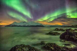 Northern Lights on the icy sea of Svensby, Lyngen Alps, Troms, Lapland, Norway, Scandinaviaの写真素材 [FYI03811893]