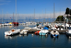 Port des Mouettes, Lac Leman (Lake Geneva), Evian-les Bains, Haute-Savoieの写真素材 [FYI03812033]