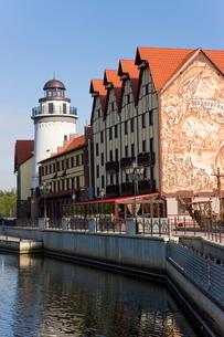 Fish Village, modern housing, hotel and restaurant development along the Pregolya River, Kaliningradの写真素材 [FYI03812044]