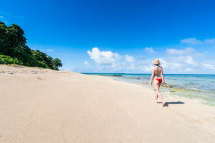 Woman walking on a white sand beach on a little islet in Haapai, Haapai Islands, Tonga, South Pacifiの写真素材 [FYI03812153]