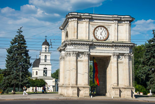 Arc de triomphe before the Nativity cathedral in the center of Chisinau capital of Moldova, Easternの写真素材 [FYI03812183]