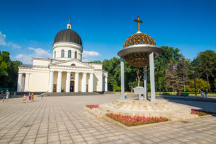 Nativity cathedral in the center of Chisinau capital of Moldova, Eastern Europeの写真素材 [FYI03812185]