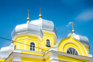 Russian Orthodox Church building in the center of Comrat capitol of republic of Gagauzia, Moldovaの写真素材 [FYI03812191]