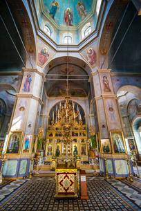 Inside the Russian Orthodox Church building in the center of Comrat capital republic of Gagauzia, Moの写真素材 [FYI03812192]