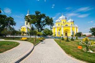 Park before the Russian Orthodox Church building in the center of Comrat capitol of republic of Gagaの写真素材 [FYI03812193]
