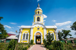 Russian Orthodox Church building in the center of Comrat capitol of republic of Gagauzia, Moldovaの写真素材 [FYI03812195]
