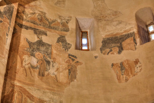 Frescoes, Church of St. Theodore Stratilates, dating from 1360, UNESCO World Heritage Site, Veliky Nの写真素材 [FYI03812550]