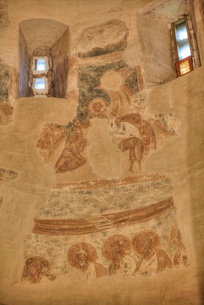 Frescoes, Church of St. Theodore Stratilates, dating from 1360, UNESCO World Heritage Site, Veliky Nの写真素材 [FYI03812555]